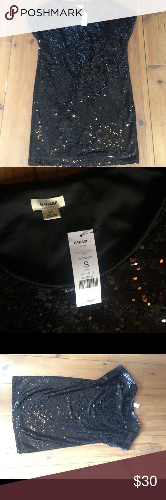Black sequin dress Black sequin dress in GREAT condition! So perfect for the upcoming holiday season, it is not too flashy!!  💥💥💥💥 NEVER WORN NWT  Looking to get rid of this dress because I have zero use for it, I know someone else would wear and love it more!   Comment below with any questions! Garage Dresses
