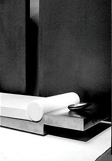 ♂ modern minimalist design black & white interior Joseph Dirand (daybed by Maria Pergay)