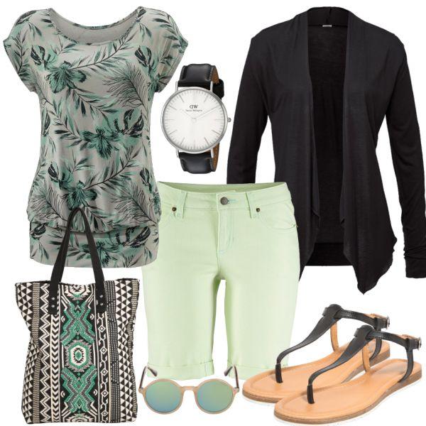 Frühlings-Outfits: Minze bei FrauenOutfits.deEine frische Grün Farbe zieht sich durch das Frühlings Outfit. Die Shorts, das T-Shirt und der Cardigan sind von Lascana und passen perfekt zusammen. Die lässigen Sandalen und die Accessoires runden das Outfit ab.
