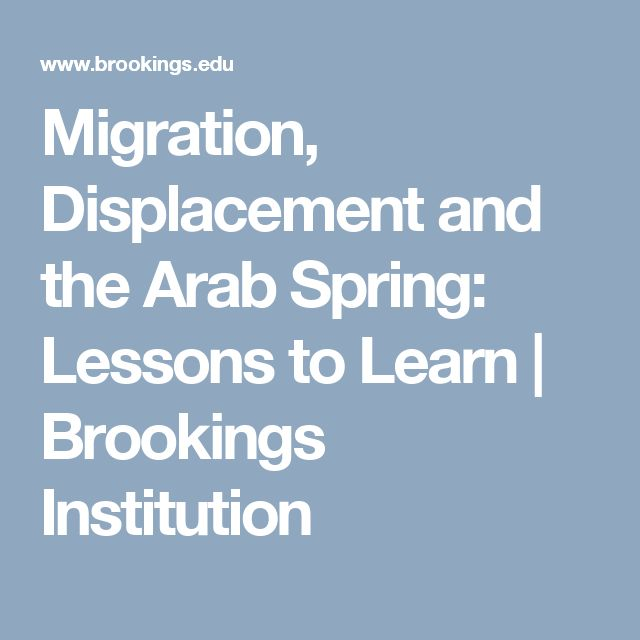 Migration, Displacement and the Arab Spring: Lessons to Learn | Brookings Institution
