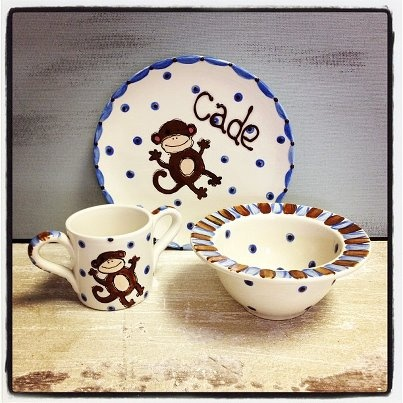 Baby Monkey Plate, bowl and 2 handle cup