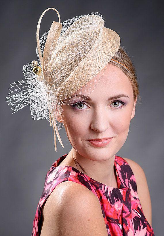 Beige elegant small pillbox hat for weddings by MargeIilane