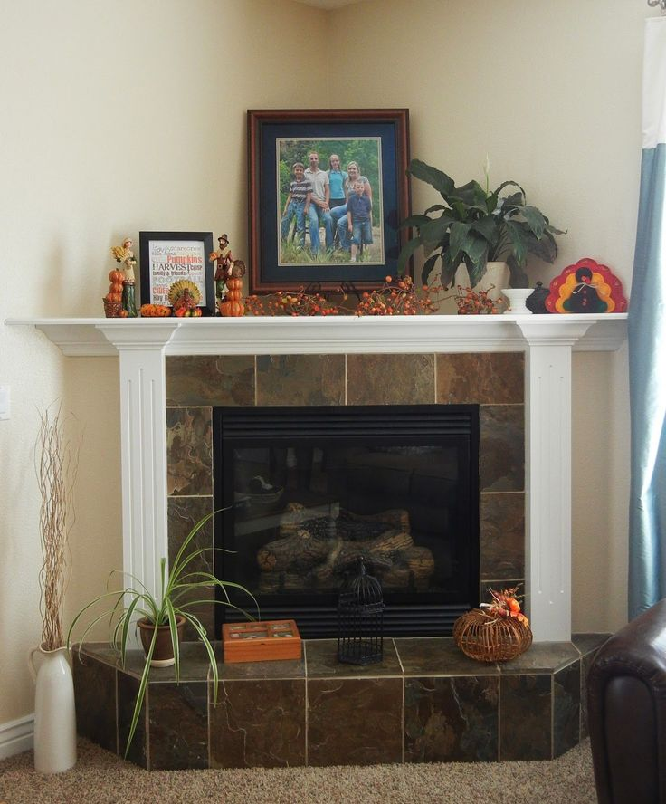 corner fireplace and mantle decorating and decor ideas                                                                                                                                                                                 More