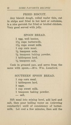 Vintage recipes - fried biscuit, spoon bread, southern spoon bread