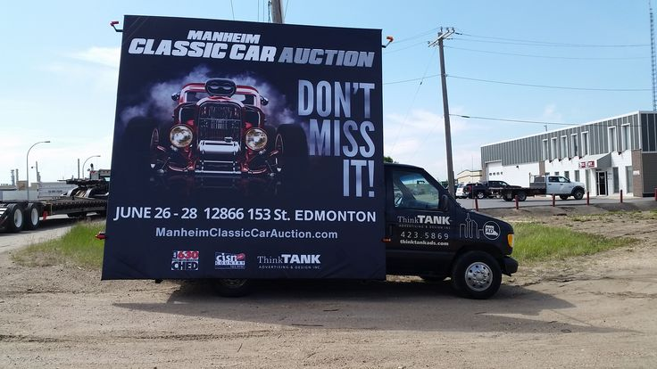 Bold colours, smoke and a cool car all make this AdVan for the Manheim Classic Car Auction really eye-catching #mobilebillboards #outofhomemarketing #alternativeadvertising