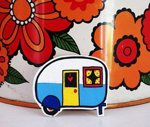 Vintage Caravan Shrink Plastic Brooch - Made To Order by Rose Hudson Bijou en plastique fou / plastique dingue