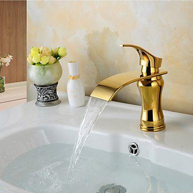 muoti vesiputous messinki ti-PVD kylpyhuoneen pesuallas hana - kultainen