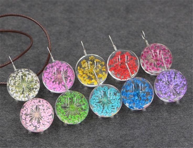10 шт смешанные природные Сушеные Гипсофила цветы 20 мм стеклянный шар флакон кулон ожерелье ювелирные изделия ручной работы купить на AliExpress