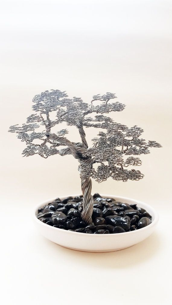 Wind swept bonsai wire tree sculpture docorated with small