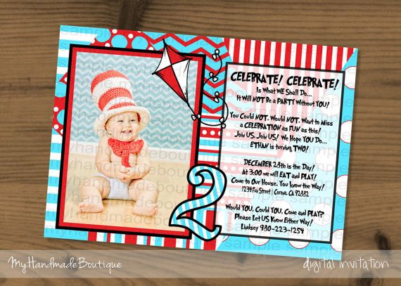 Aqua and Red Photo Birthday Invitation 2nd Second Dr. Seuss Birthday Party Theme Cat in the Hat Party Theme Baby Shower Kite dots chevron on Etsy, $15.00