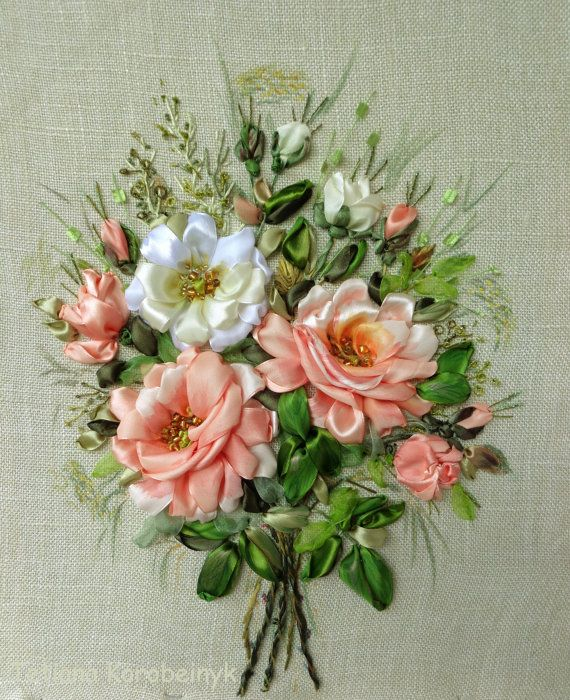 Rose  picture made of Silk ribbon by SilkRibbonembroidery on Etsy