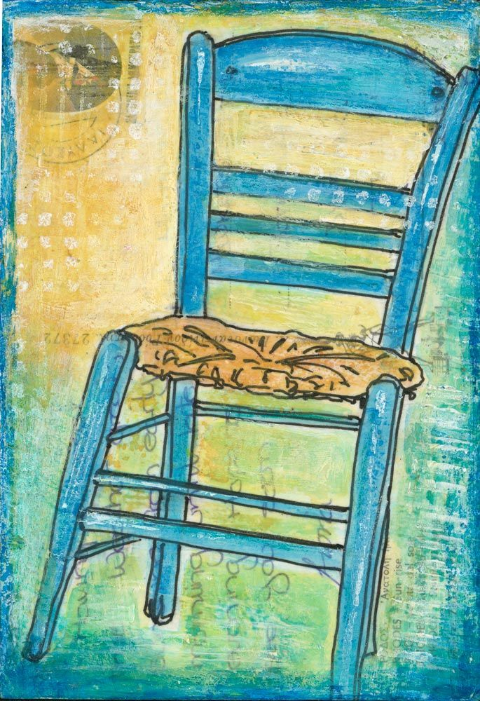 Turquoise Chair - Rhodes: An original piece of art created on an altered postcard. A postcard from Greece is a range of original art on vintage postcards by Gill Tomlinson.