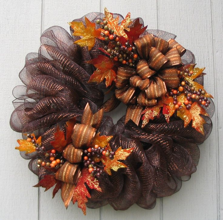 Luxurious Brown Metallic Deco Mesh Fall Wreath Door or Wall Decor by wreathswithclasses on Etsy https://www.etsy.com/listing/201026268/luxurious-brown-metallic-deco-mesh-fall