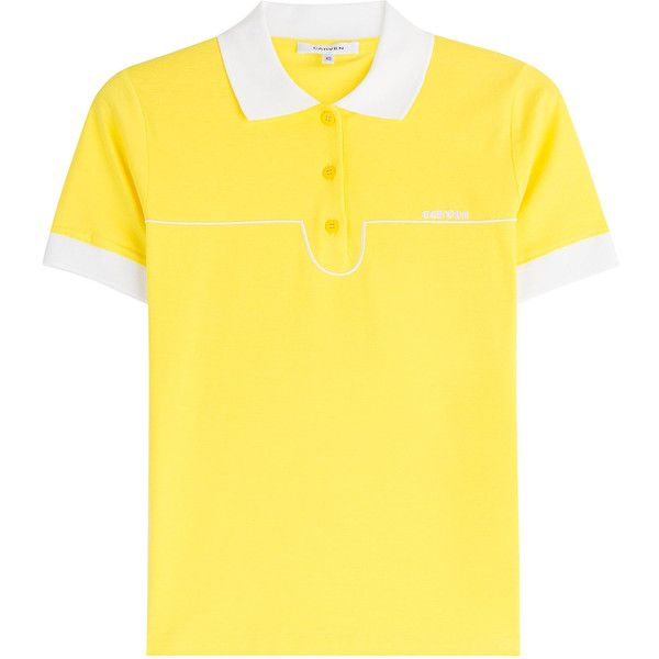 Carven Cotton Polo Shirt ($111) ❤ liked on Polyvore featuring tops, yellow, fitted tops, polo shirts, fitted polo shirts, wet look top and slimming tops