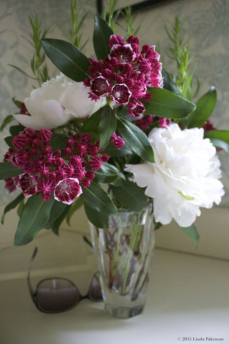 Mountain Laurel, white peonies and tarragon, 2015. In the powder room, not the foyer.