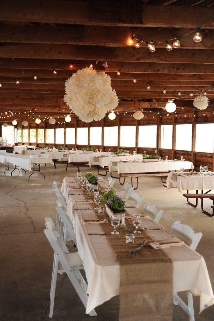 Snow Mountain Ranch wedding Reception, Mountain Air cookout shelter, Outdoor pavillion reception, bulb lights, tissue paper puff balls, colorado wedding, colorado outdoor reception
