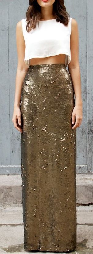 gold sequin maxi skirt + white crop top