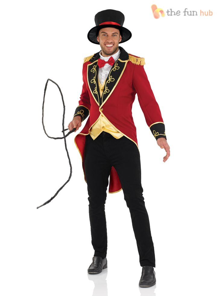 Deluxe Adult Male Ringmaster Costume Mens Circus Fancy Dress Lion Tamer Outfit