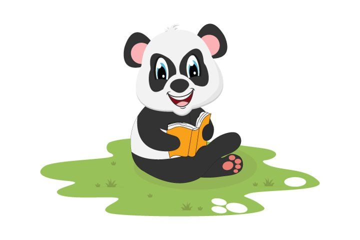 Cute Panda Reading A Book Simple Vector Illustration 975580 Illustrations Design Bundles In 2021 Cute Panda Graphic Illustration Graphic Design Resources