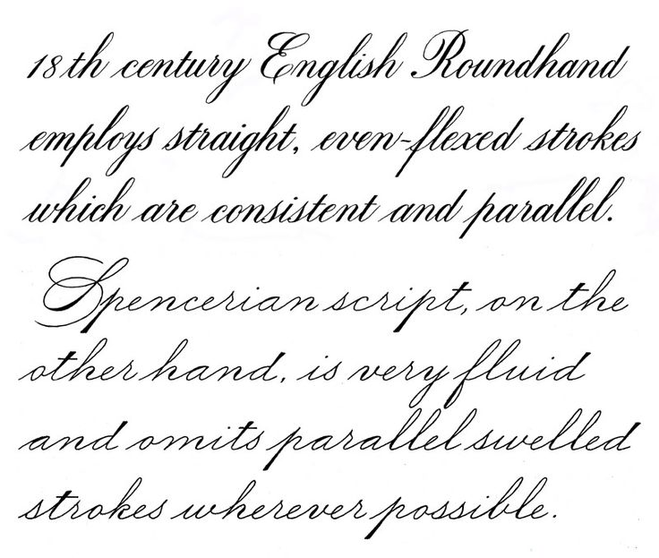 English roundhand spencerian script calligraphy