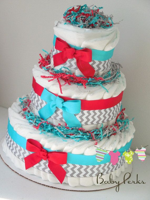 Turquoise red diaper cake  baby shower dr Seuss   by MsPerks, $49.99