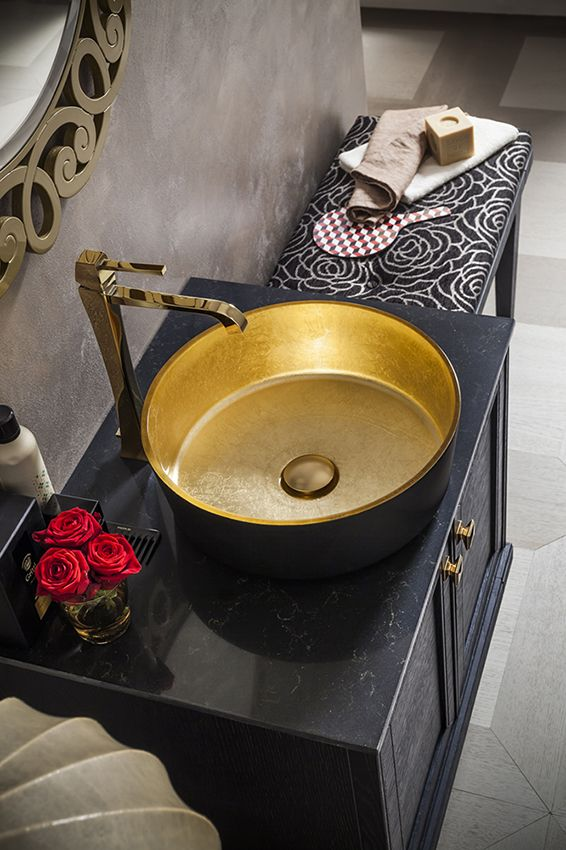 gold washbasin. bathroom//Photo by Photografica