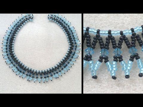 Beading4perfectionists : Basic netted necklace for beginning beaders beading tutorial - YouTube