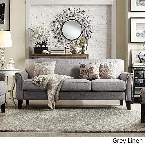 tribecca home uptown modern sofa grey linen - Uptown Modern Furniture Toronto