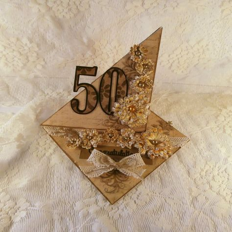 50th Birthday Card / Handmade Card / Handmade Flowers / 3-Dimensional Card / Die Cut Card / Easel Card / Beautiful Card / Congratulations by Cards2diefor on Etsy