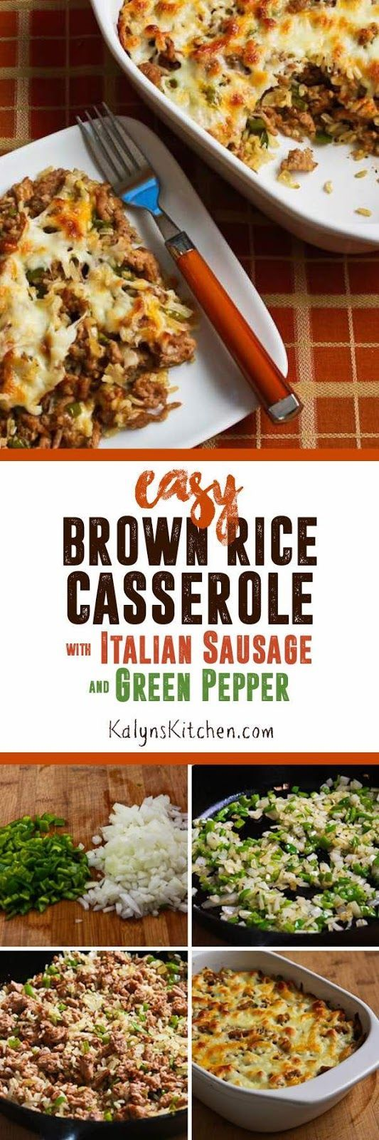 Using lots of sausage, peppers, and cheese and not much rice makes this Easy Brown Rice Casserole with Turkey Italian Sausage and Green Bell Pepper a delicious carb-conscious meal. For lower-carbs, there are also suggestions in the recipe.