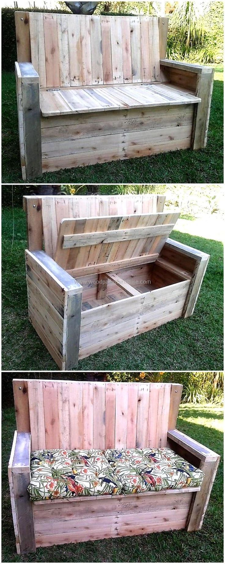 Garden is a place where you like  sitting and enjoying nature.  We have crafted garden bench incredibly so that you can have awesome project at your place. Not only this; with storage option make it more handy project. Pallet garden furniture bench with storage is smashing project.