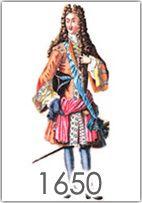 La moda maschile dal 1650 al 1700 è dominata dalla figura di Luigi XIV che lancia la moda della parrucca e trasforma l'abbigliamento in spettacolari costumi