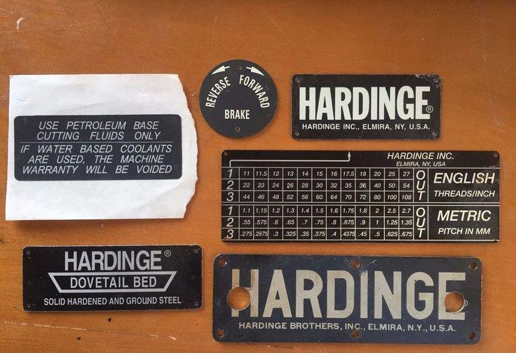 Lot of 5 Hardinge Lathe Plates Emblems Metal Faceplates Machinist Hobby  #Hardinge