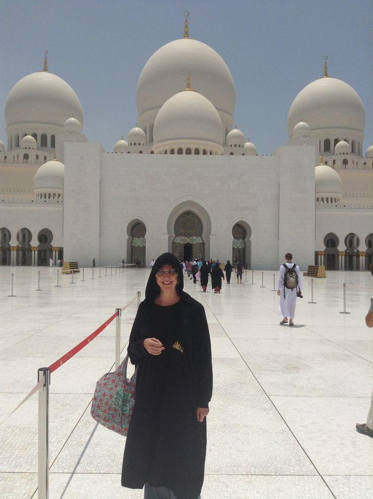 Me getting ready to enter Sheikh Zayed Grand Mosque in Abu Dhabi, UAE