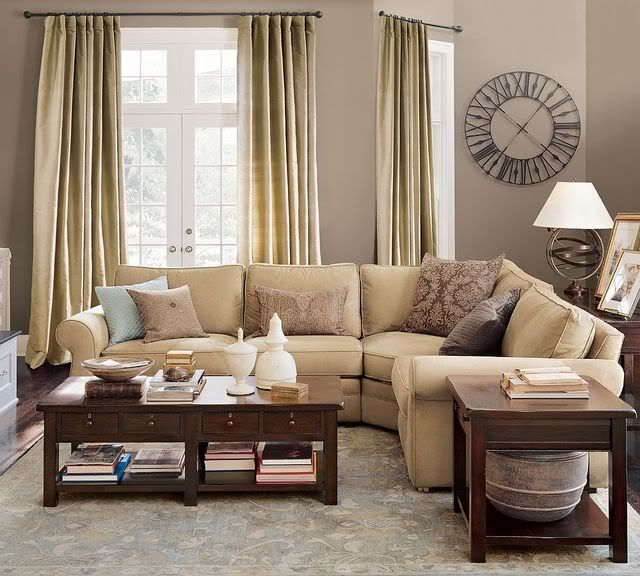Love This Color Scheme Putty Grey Walls PB Pearce Sofas In Oat Blue Brown Tan Pillows