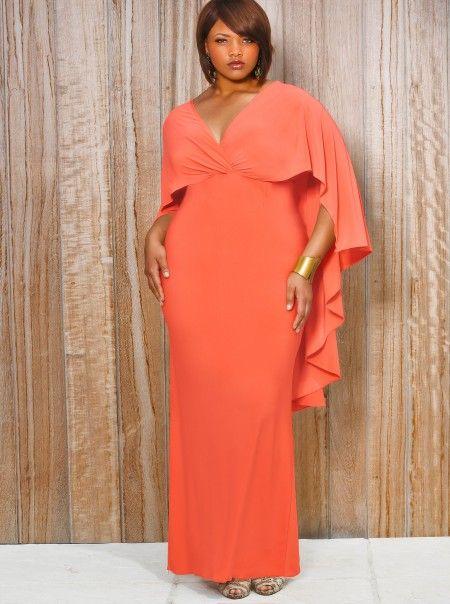 Bridgette Cape-Back Maxi Dress - Coral. @MonifCPlusSizes - WANT