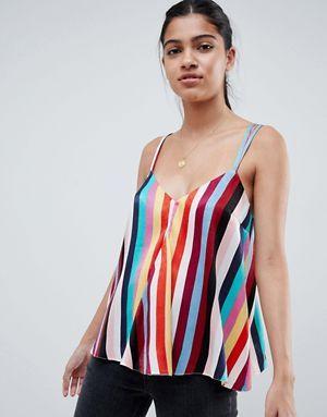 5c942c9d69 ASOS DESIGN swing satin cami in stripe print