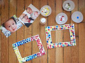 Painted Mosaic Styrofoam Tile Picture Frame   Pink Stripey Socks