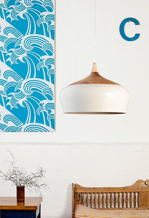 Kate Stokes, Coco Flip - the Coco Pendant light in white. Hand-turned timber and hand-spun metal combine in this beautiful, curved design.