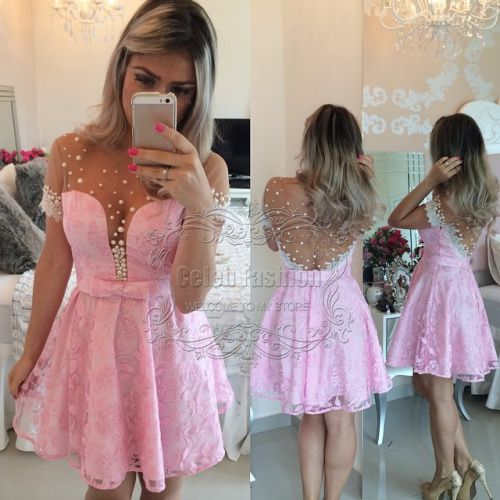Vestidos De Cocktail Dress Pearls Beading See Through Bodice Pink Lace Short Cocktail Dress Short Sleeves Cocktail Party Dress alishoppbrasil