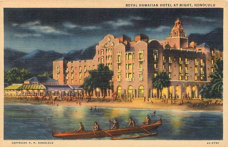 HONOLULU, HI Hawaii ROYAL HAWAIIAN Hotel at Night c1940s Linen Postcard For Sale • PicClick