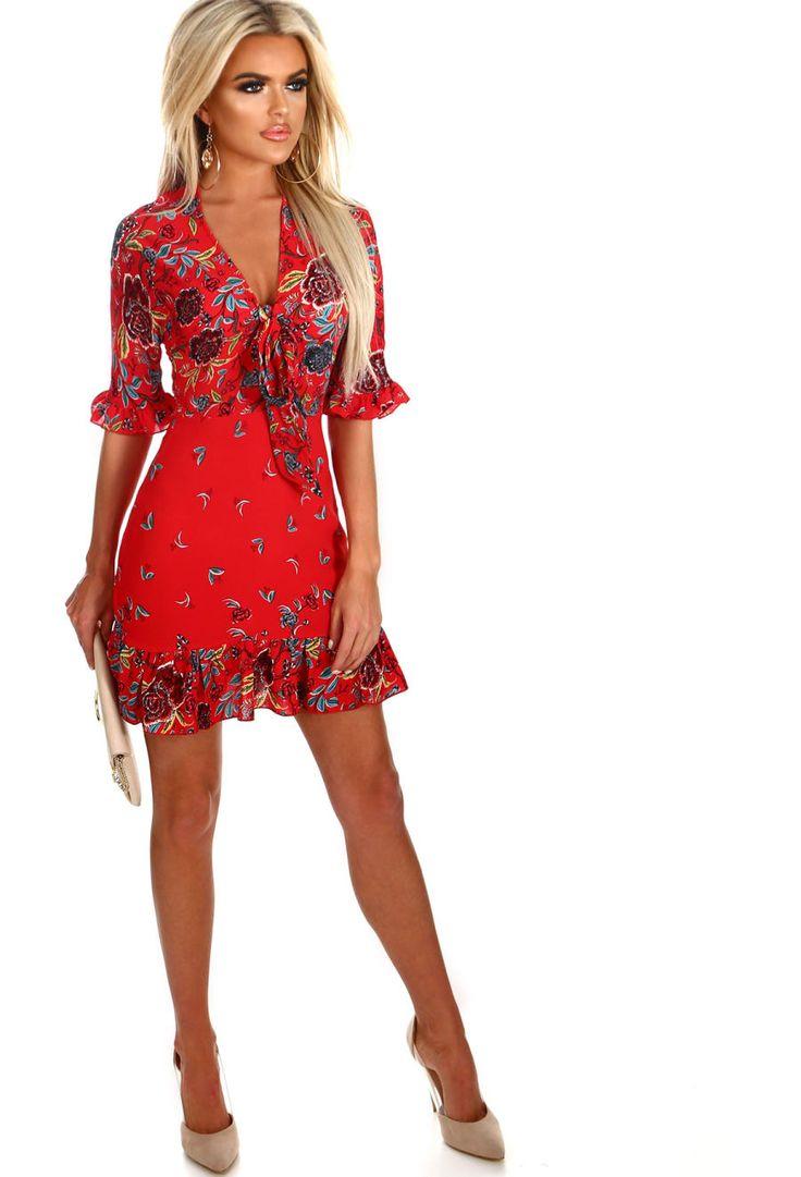 Italian Rose Red Floral Frill Trim Tea Dress