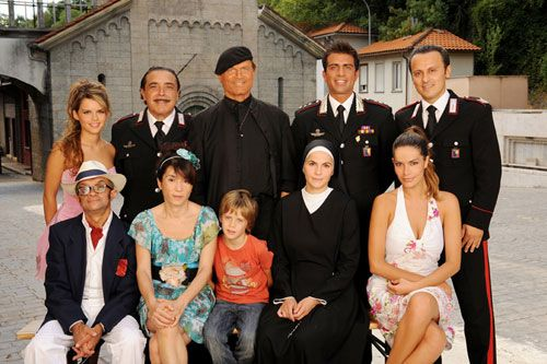 Don Matteo cast. Italian TV series. DVDs found on Amazon.