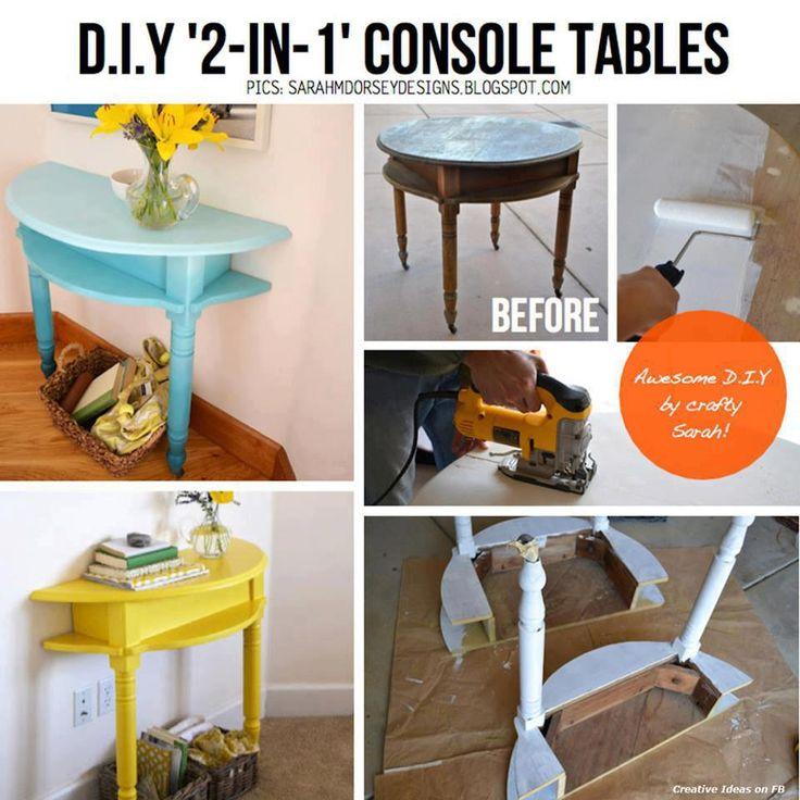 reciclar una mesa redonda en dos mesitas de recibidor