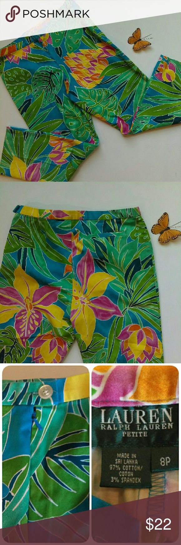 Ralph Lauren - flower capris EUC. Like new. Only worn a couple of times. These will work great for the lady whisking away on a cruise or spending a vacation in Hawaii! Very tropical and cute. Be stylish any time of the year in these capris! Has a zipper and button on the side (see pic). From a smoke and pet free home. Fast shipping.   *I take offers on bundles  *All offers considered  *No trades  Happy Poshing Lauren Ralph Lauren Pants Capris