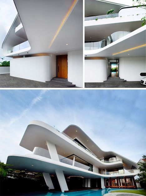 Tropical curved home architecture in Singapore - Aamer Architects