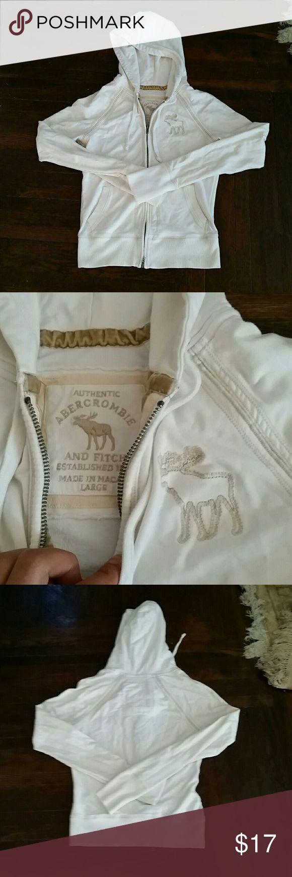 Abercrombie and Fitch zip up hoodie White zip up hoodie. Used. Soft fabric. Size L. Abercrombie & Fitch Tops Sweatshirts & Hoodies