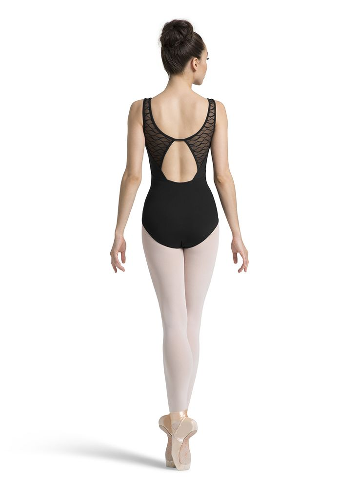 New Arrivals!  Tween Open Back Tank Ballet Dance Leotard with Wave Mesh Inserts by Mirella in Black #M3054TM