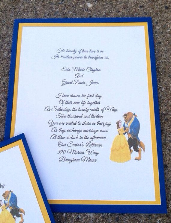 beauty & the beast invitations rsvp cards or by paulineparrdesigns, Wedding invitations