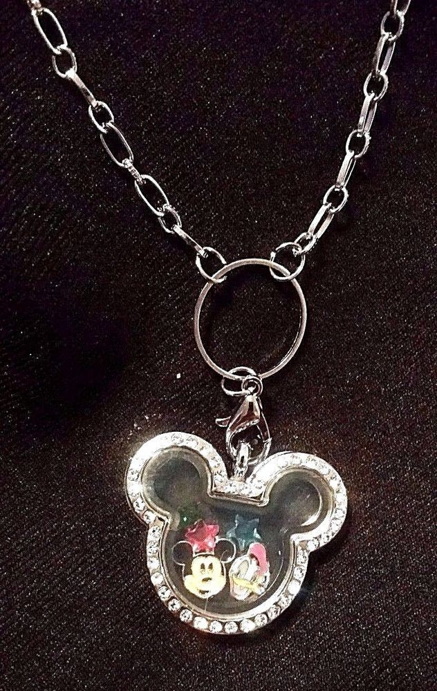 Mickey Mouse, Silver Crystal Floating Memory Locket, 30 mm, Charm Necklace #Unbranded #Chain